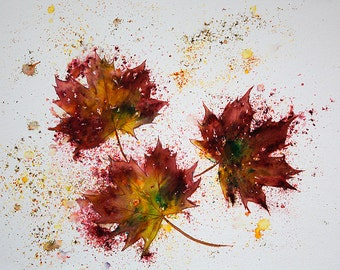 Original Brusho painting of Autumn Leaves, complete with soft white mount 500mm x 400mm Painting size is 400mm x 300mm, A special gift