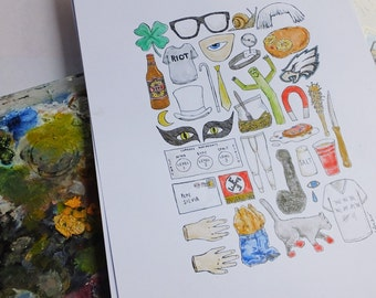 A3 ALWAYS SUNNY in Philadelphia Art Print Colour / Black and White Line Drawing Poster Series Rumham Nightman Dayman Toeknife Kitten Mittens