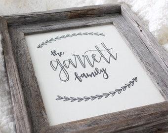 Custom Handwritten Family Print