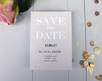Classic Wedding Save The Date Card, Modern Elegance Wedding Save The Date Invite, Grey Wedding Save The Date Card