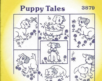 Aunt Marthas, Hot Iron Transfers, 3879, Puppy Tales, Embroidery, Fabric, Painting, Quilting, Wearable, Art, Needle Point, Crafts, Pattern