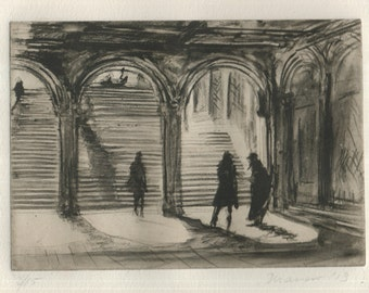 Signed original Etching: Bethesda Buskers by Onelio Marrero
