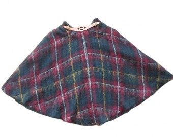 Hermès : tartan wool and leather skirt, size S, vintage 70s