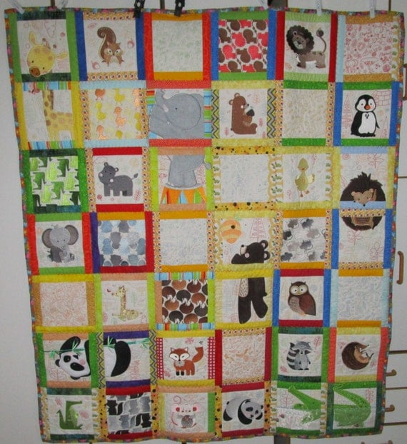 Machine Embroidered Baby Quilt, Baby Quilt, Animal Quilt, Crib Quilt, Handmade Baby Quilt - A