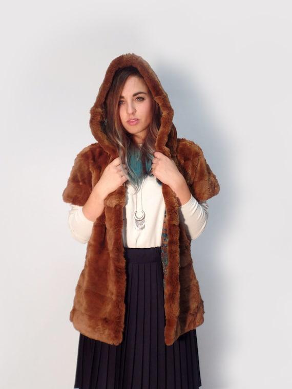 Fur hooded vest, Possum Fur shaved honey color, women