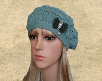 Womens knit beret, Knitted beret lady, Knitted wool beret, Lightweight beret, Beret for autumn, Trendy womens hat, Ladies trendy beret