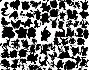 250 First Generation Pokemon Silhouette Clipart Pokemon Clipart Pokemon Silhouette Pokemon Digital Pokemon Printable Pokemon Silhouette