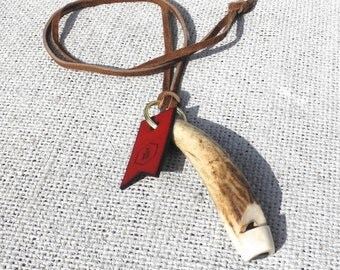 Rustic Stag Antler Dog Whistle On Leather Lanyard