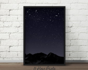 Instant Download Night Sky Art Print - Printable Art - Digital Prints - Starry Night - PDF Download