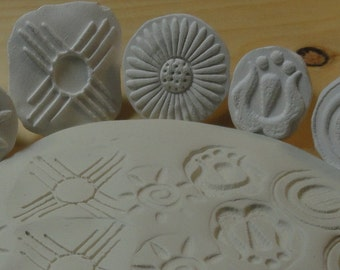 5 Unique Textural Stamps, Tool Stamps, Clay stamps, Ceramic stamps, for clay, Porcelain Stamps, Porcelain Clay, Polymer Clay stamp Set. #6