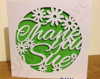 Personalised Thank You Paper Cut Greetings Card  |  Any name