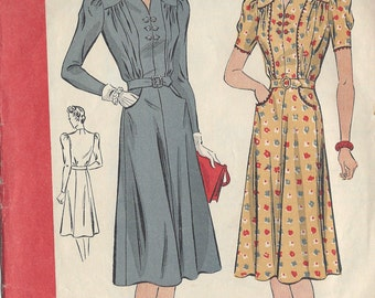 1940 Vintage Sewing Pattern B40 DRESS (R895) By Du Barry 5005B