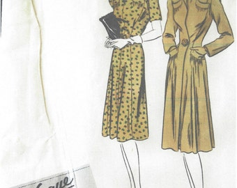 1940s Vintage VOGUE Sewing Pattern B34 COAT & DRESS (1111R) Vogue 370