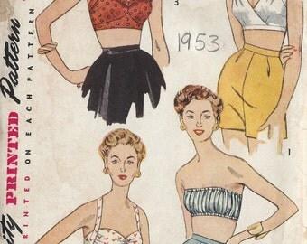1953 Vintage Sewing Pattern B30 BRA TOPS (1220) Simplicity 4333
