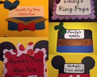 Mickey Mouse ClubHouse Character Food Tags