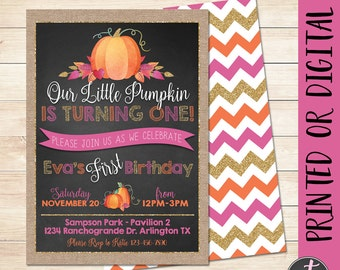 Our Little Pumpkin is Turning One Invitation, Girl Pumpkin Invitation, Fall Birthday Invitation, Pumpkin First Birthday, Pumpkin 1st