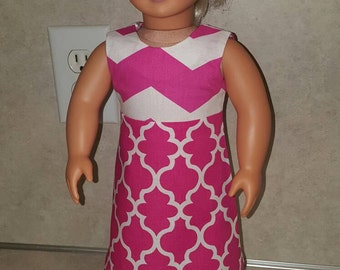 "18"" pink doll dress, modern doll clothes, chevron, Quatrefoil, zigzag dress for 18"" dolls like American Girl, Our Generation, doll clothes"