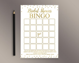 Bridal Shower Bingo Cards, Bridal Bingo, Gold confetti Bridal Shower Games Printable, Blank Bingo, Bridal Shower ideas, Shower Activity