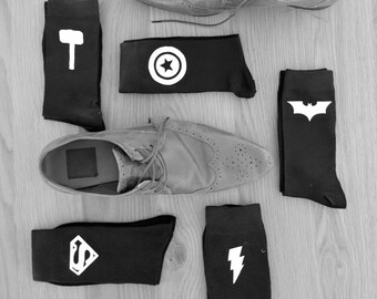 Superhero Socks Groom Socks Bestman Groomsmen Wedding Socks