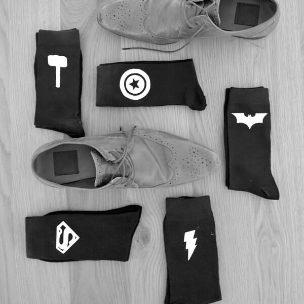 Superhero Socks Groom Socks Bestman Groomsmen Wedding Socks