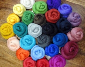 Felting wool 20 colors - Merino Wool for felting as combed tops for dry felting and wet felting