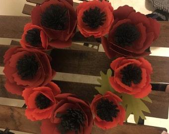Handmade Paper Poppy Wreath