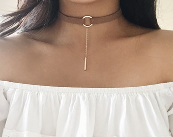 Thick Circle Ring Choker, Faux Leather Choker, Bar Necklace, Choker Necklace, Circle Choker, Brown Choker, Black Choker, Leather Choker