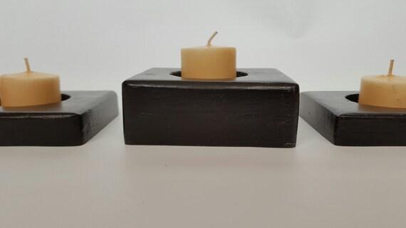 Votive Candle Holder/ Tealight Candle Holder/  Candle Holder/  Wood Candle Holder/  Black Candle Holder