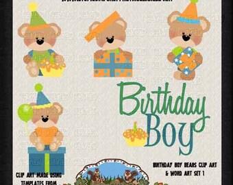 Birthday Clip Art - Boy Bear Birthday clip art - Teddy Bear clip art - Commercial Use Clip Art - Bear Clip Art - Instant Download