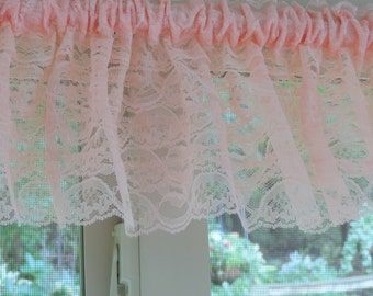 Peach window valance,  Peach window treatment,  Peach curtain
