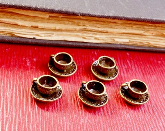 Teacup charms 5 antique bronze vintage style pendant charm jewellery supplies C7