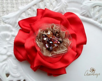 Gallica Rose Fabric Brooch, Shabby chic flower, Bridesmaid Hair Accessory, Bridal or Prom Flower, Corsage, Flower Girl Hair, Rustic Wedding
