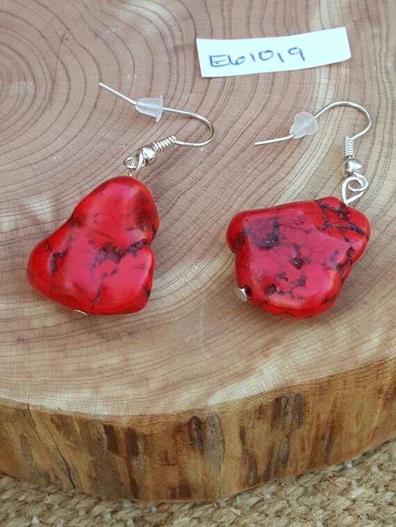 Red Turquoise Earrings / Red Turquoise Stone / Semi Precious Stones / Dangle Earrings / Southwestern / Hippie Earrings /Boho Jewelry /E61019