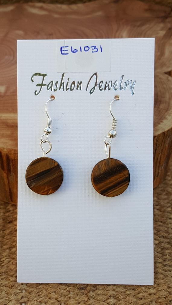 Brown Yellow Tigers Eye Stone Earrings / Tigers Eye Earrings / Dangle Earrings / Hippie Earrings / Boho Jewelry /E61031