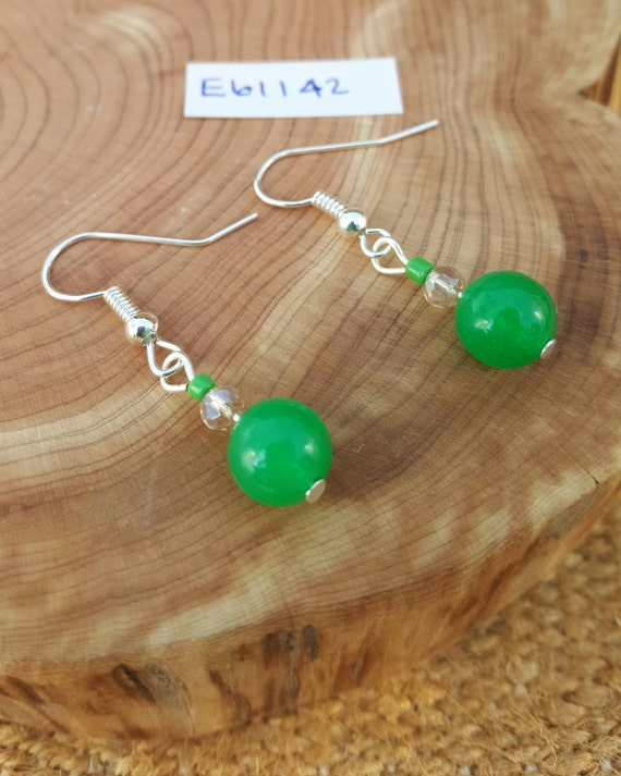 Green Earrings / Green Stone Earrings / Semi Precious Stones / Dangle Earrings / Hippie Earrings / Boho Jewelry /E61142