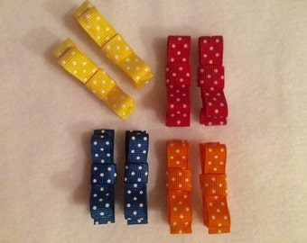 Mini clip hair bows, Set of 2, girls hair accessories, yellow, red, blue, orange with white polka dots, alligator clip, baby/toddler/girls