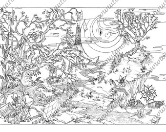 ADULT COLORING PAGE Magic Valley Instant DownloadColoring For Adults Coloring
