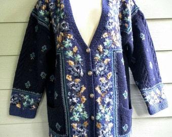 Laura Ashley 90's sweater Small blue wool floral oversized boxy boho England romantic fair isle