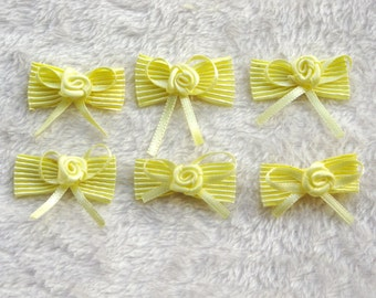"Pre-Tied Satin Bows: ""YELLOW BOW"" Mini Fabric Ribbon Bow Tie , Tiny Satin Bows Hair Accessory Jewelry Making Wedding Favor Embellishment C22"