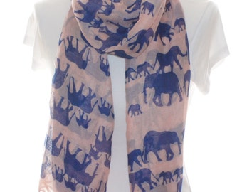 Pink and blue elephant Scarf shawl, Beach Wrap, Cowl Scarf, pink and blue elephant print scarf, cotton scarf, gifts for her
