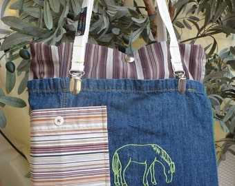 Photo bag for compact cameras, for young ladies, Merry, horse embroidered, padded, light, also for small Tablet