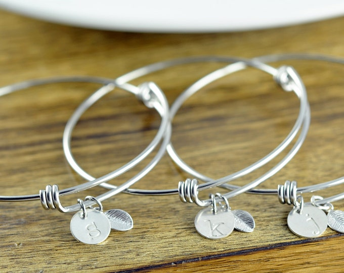 Silver Initial Bracelet - Personalized Initial Bracelet - Personalized Hand Stamped Bracelet - Bridesmaid Gift - Bridesmaid Jewelry