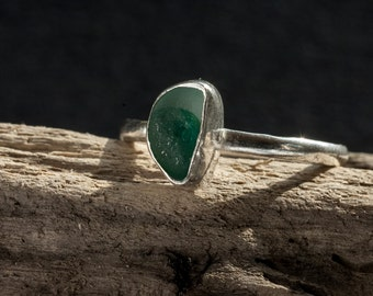 Sea glass (2-colour) and silver ring