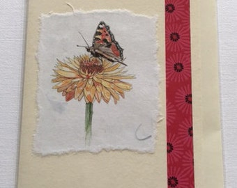 Handmade Daisy and Butterfly blank greetings card.