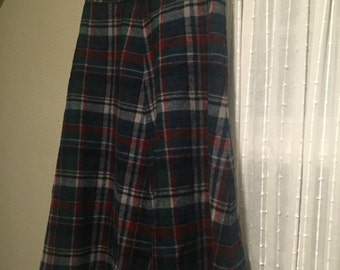 Vintage Pendleton Green and Red Plaid Wool Skirt Women's Size Small