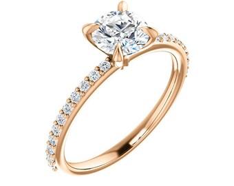 Moissanite Engagement Ring Rose Gold / Rose Gold Moissanite Diamond Engagement Ring / White & Yellow Gold Available 10K, 14K, 18K