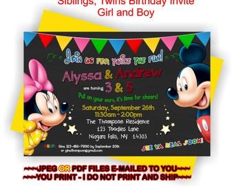 Twins Party Invite, Mickey Invite, Minnie Invite, Siblings Invitation, Twins Invitation, Birthday Party, Twins Birthday - BIRINV88