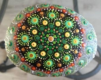 Hand painted Mandala Zen stone