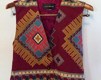 Vintage 80's Harris/Wallace Southwestern Vest