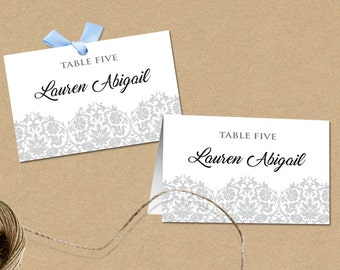 Printable Place Card Template, Editable  .DOC Template, Instant Download, Editable Artwork and Text Color